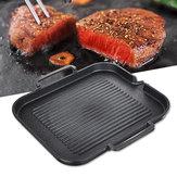 BBQGrillPanantiadherenteparacocinar Grill Pan Iron Steak Sartén cámping Picnic Cookware