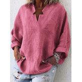 Женщины сплошной цвет V-образным вырезом Свободная блузка с карманами