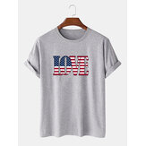 100% Cotton America Flag LOVE Print Crew Neck Short Sleeve T-Shirts