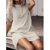المرأة قصيرة الأكمام القطن قميص طويل فضفاض الصلبة البسيطة اللباس