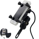 12V-30V 3.5-6 inch Motorcycle Phone GPS Holder X-Style Carregador USB Power Outlet Tomada
