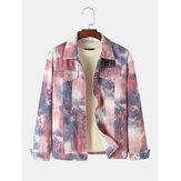 Mens Tie Dye Multi Pocket Lapel Long Sleeve Vintage Denim Jacket