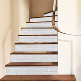 6Pcs 3D Brick Stair Stickers DIY Staircase Decals Decor Removable Waterproof Wallpaper White for Home Decor