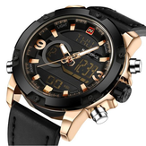 NAVIFORCE NF9097 Mode Hommes Montre à double montre Montre en cuir de luxe Sport Watch