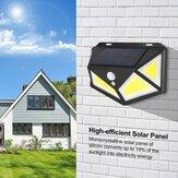 76/120 COB LED Solar Powered PIR Motion Sensor Wall Light Four Sides Outdoor Garden Lamp