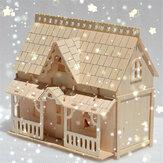 DIY Wooden Blocks Assembly Doll House Model Toys for Kids Gift