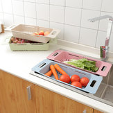 Kitchen Plastic Sink Drain Basket Rack Retractable Tableware Vegetable Shelf Storage Drain Rack