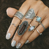 8 Pcs Bohemian Turquoise Gem Knuckle Ring Set for Women