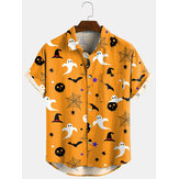 3 Farben Halloween Cartoon Print Turn Down Kragen kurze Shirts