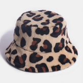 Damska sierść królika Leopard Pattern Casual Warm All-match Bucket Hat