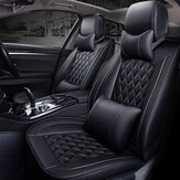 Deluxe Universal 5 Seats Car Seat Cover PU Leather Front + Rear Cushion with Pillow