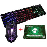 Colorful Backlight USB filaire Clavier de jeu 2400DPI LED Gaming Mouse Combo avec tapis de souris