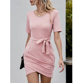Women Short Sleeve Crew Neck Bodycon Belted Split Wrap Dress