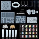 381 pièces bricolage cristal résine époxy moule Bracelet pendentif bijoux à la main Silicone moule ensemble