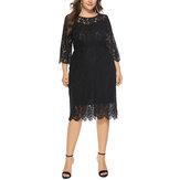Plus Size Elegant Lace 3/4 Sleeve Party Women Dress
