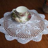 37 cm runde weiße reine Baumwolle Garn Hand Häkelspitze Doily Tischset Tischdecke Decor