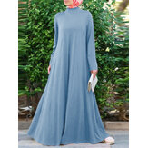Women Long Sleeve Button Back Full Length Kaftan Maxi Dresses With Pocket