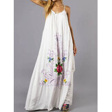 Women Bohemian Floral Sleeveless Swing Hem A Line Long Maxi Dress
