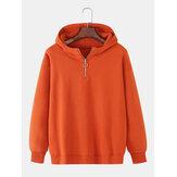 Sudaderas con capucha de hombros caídas simples con media cremallera de color sólido de algodón para hombre