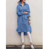 Women High Low Long Sleeve Casual Longline Denim Shirts With Flap Pockets