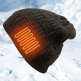 Unisex Heating USB Charging Wool Warm Outdoor Windproof Electric Heated Knitted Hat Beanie