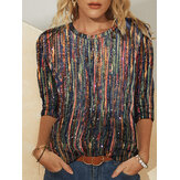 Women Multi-Color Striped Glitter Printed Long Sleeve O-Neck Blouse