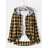 Mens Classic Plaid Long Sleeve Button Up Pocket Hooded Shirts