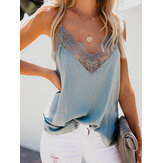Women Lace Patchwork V-neck Sleeveless Sling Blouse Elegant Casual Tank Top