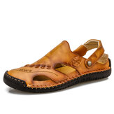 Men Hand Stitching Soft Non Slip Outdoor Closed Toe Leather Sandals