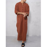 Men Cotton Dual Pockets Long Sleeve Vintage Kaftan Shirts