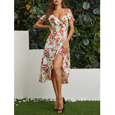 Slit Hem Random Floral Print Off Shoulder Casual Midi Dress
