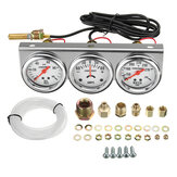 2 Inch 52mm Tekanan Minyak Air Temp Amp Meter Tiga Gauge 3 in 1 Set Chrome Panel