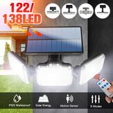 3 cabezales Solar Aplique de pared Motion Sensor al aire libre Lámpara de calle para jardín + control remoto