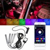 4本のLED車のインテリアデコレーションライトフロア雰囲気ライトストリップ電話アプリコントロールColorful RGB
