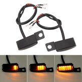 2pcs LED Turn Signal Indicators Flowing Running Water Light Amber Dynamic Motorcycle Bike Handlebar Mount