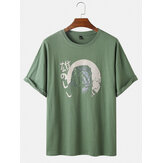 Cotton Animal Print Round Cuello Camisetas de manga corta transpirables