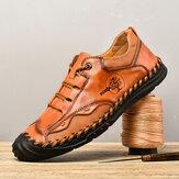 Menico الرجال الرجعية النمط البريطاني جلد ستوكات مريح Soft خياطة يدوية أحذية عادية