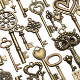 130pcs Antique Bronze Brass Vtg Ornate Skeleton Keys Lot Pendant Fancy Heart Pendants Key Gift