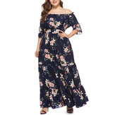 Plus Size Bohemian Off-shoulder Ruffles Long Dress