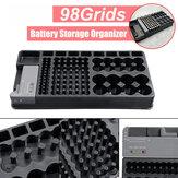 98Grids Batterie Support de rangement pour organiseur avec boîtier de testeur amovible Batterie