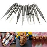 10pcs 15° 0.2mm Carbide Engraving Bits 3.175mm Flat Bottom PCB Engraving Bits CNC Router Tool