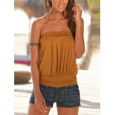 Solid Color Pleated Strapless Sleeveless Summer Camis For Women