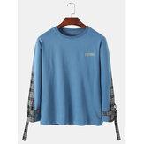 Jersey de cuadros con patchwork lateral con estampado de letras para hombre Diseño Sudaderas