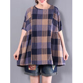 S-5XL Vintage Women Plaid Cotton Blouses