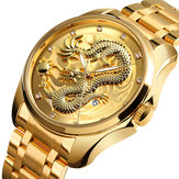 SKMEI 9193 Luxury Chinese Dragon Pattern Golden Quartz Watch