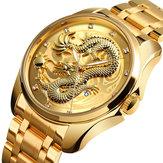 SKMEI9193lujochinoDragónPatrón reloj de cuarzo dorado