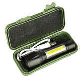 XANES 1517B XPE + COB Dual Lights 1000 lumenów Zoomable USB Akumulator EDC Tactical LED latarka garnitur