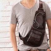 Men Solid Genuine Leather Headphone Plug Crossbody Bag Chest Bag Sling Bag