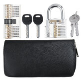 Titanium 24 Pieces and  Two Locks Locksmith Training Lock Set Pransparent Padlock AB Lock Picks