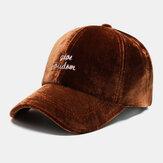 דפוס רקמת מכתב קטיפה לשני המינים צבע רגיל אישיות אופנה חמה כובע בייסבול שמש